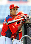 2 March 2011: Washington Nationals infielder Ian Desmond awaits his turn in the batting cage prior to a Spring Training game against the Florida Marlins at Space Coast Stadium in Viera, Florida. The Nationals defeated the Marlins 8-4 in Grapefruit League action. Mandatory Credit: Ed Wolfstein Photo