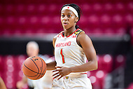 College Park, MD - NOV 16, 2016: Maryland Terrapins guard Ieshia Small (1) in action during game between Maryland and Maryland Eastern Shore Lady Hawks at XFINITY Center in College Park, MD. The Terps defeated the Lady Hawks 106-61. (Photo by Phil Peters/Media Images International)