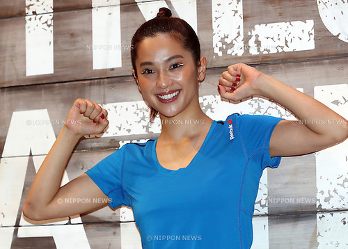 """June 16, 2016, Tokyo, Japan - Japanese model Anne Nakamura poses for photo as she attends a promotion event for """"Reebok Fitness Battle Race"""" in Tokyo on Thursday, June 16, 2016. Reebok Fitness Battle Race is a four-person team event of obstacle race, which will be held at the German village in Chiba prefecture on October 1.   (Photo by Yoshio Tsunoda/AFLO) LWX -ytd"""