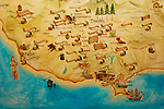 Stock photo of a Map of wineries of the Southern part of Cyprus Limassol Pafos and Troodos mountains area Cyprus Wine Museum near Limassol Horizontal