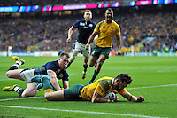 Adam Ashley-Cooper of Australia dives for the try-line but the score is soon ruled out. Rugby World Cup Quarter Final between Australia and Scotland on October 18, 2015 at Twickenham Stadium in London, England. Photo by: Patrick Khachfe / Onside Images