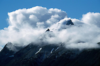 Cariboo Chilcotin Coast Region, BC, British Columbia, Canada - Coast Mountains covered in Clouds near Chilko Lake