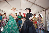 Judge Pia Andersen and Kitty Van Horne winner of the best dressed lady are pictured at The 2012 Historic Houses Trust of NSW annual Fifties Fair at Rose Seidler House, Sydney. Picture James Horan