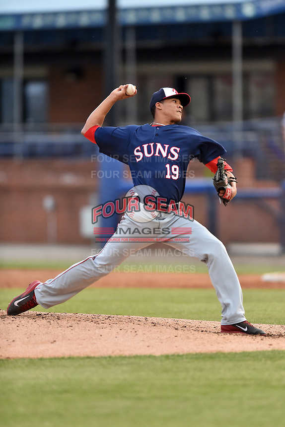 Hagerstown Suns starting pitcher Joan Baez (19) delivers a pitch during a game against the Asheville Tourists at McCormick Field on April 27, 2016 in Asheville, North Carolina. The Tourists defeated the Suns 14-7. (Tony Farlow/Four Seam Images)