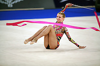 September 21, 2007; Patras, Greece;  Olga Kapranova of Russia performs on carpet with ribbon during the All-Around final at 2007 World Championships Patras.  Olga placed 3rd in the AA to qualify Russia for 2nd of 2 positions in the individual All-Around competition at Beijing 2008.  Photo by Tom Theobald. .
