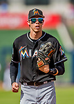1 March 2017: Miami Marlins outfielder Christian Yelich returns to the dugout during Spring Training action against the Houston Astros at the Ballpark of the Palm Beaches in West Palm Beach, Florida. The Marlins defeated the Astros 9-5 in Grapefruit League play. Mandatory Credit: Ed Wolfstein Photo *** RAW (NEF) Image File Available ***