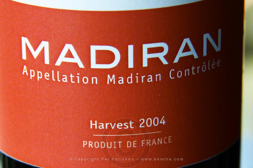 Bottle of Madiran Harvest 2004 detail of label Madiran France