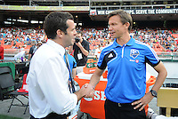 D.C. United head coach Ben Olsen with Montreal Impact head coach Jesse Marsch. D.C. United defeated Montreal Impact 3-0 at RFK Stadium, Saturday June 30, 2012.