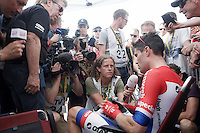Tom Dumoulin (NLD/Giant-Alpecin) mobbed for interviews after he finished 1st so far...<br /> <br /> Stage 18 (ITT) - Sallanches &rsaquo; Meg&egrave;ve (17km)<br /> 103rd Tour de France 2016