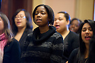 January 16, 2012; The Voices of Faith Gospel Choir sing at the end of a ceremony in the Main Building in honor of Rev. Martin Luther King day, Jan. 18, 2010.. Photo by Barbara Johnston/University of Notre Dame