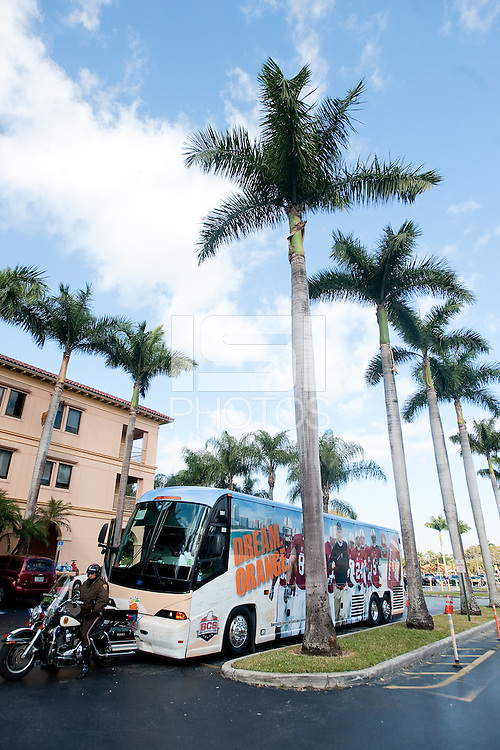 MIAMI, FL--The Stanford Orange Bowl bus is seen in front of Baptist Children's Hospital in Miami, Florida.