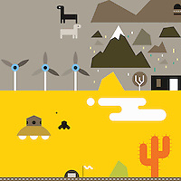 Abstract collage of desert landscape, flying saucers and wind turbines  ExclusiveImage ExclusiveArtist