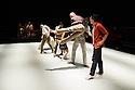 Ipswich, UK. 15.02.2014. Luca Silvestrini's PROTEIN present BORDER TALES at Dance East, Jerwood DanceHouse. Picture shows:  Anthar Kharana (musician), Salah el Brogy, Stephen Moynihan, Eryck Brahmania, YuYu Rau, Stuart Wters, Femi Oyewole, Kenny Wing Tao Ho. Photograph © Jane Hobson.