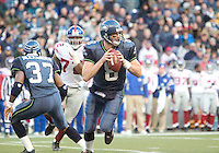 27 Nov 2005:   Seattle Seahawks quarterback Matt Hassselbeck looks down field for a open receiver against the New York Giants at Qwest Field in Seattle, Washington.