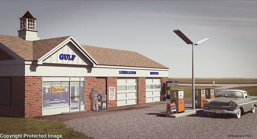The 3D model I built of a more modern gas station from the early 1960's