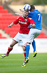 St Johnstone v Ross County....SPFL Development League...19.08.14<br /> Scott Wilson gets above Connor Lyall<br /> Picture by Graeme Hart.<br /> Copyright Perthshire Picture Agency<br /> Tel: 01738 623350  Mobile: 07990 594431