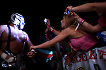 Lucha Libre AAA wrestler Silver King is greeted by fans in San Jose, CA March 29, 2009.