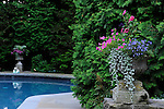 BEAUTIFUL AND LUSH URNS ADORN A SWIMMING POOL