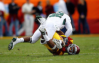 4 October 2008:  #32 Jarius Byrd tackles #1 Patrick Turner with the ball during NCAA College Football Pac-10 conference USC Trojans 44-10 win over the University of Oregon Ducks at the Los Angeles Memorial Coliseum in Los Angeles, California.