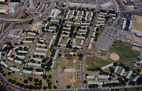 """1997 June 10.Aerial taken for David Smith.Tidewater Gardens (6-2 & 6-9).Assisted Housing..Tidewater Gardens looking West.Print from 35mm color neg..filed """"TIDEWATER1"""" AERIALS DRWPt1...NEG#.NRHA#..06/97  HOUSING:Tidewtr1  2:10 2.."""