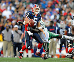 2 November 2008:  Buffalo Bills' quarterback Trent Edwards (5) is sacked by New York Jets defensive end Shaun Ellis (92) at Ralph Wilson Stadium in Orchard Park, NY. The Jets defeated the Bills 26-17 improving their record to 5 and 3 for the season...Mandatory Photo Credit: Ed Wolfstein Photo