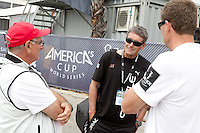 PORTUGAL, Cascais. 6th August 2011. America's Cup World Series. Day 1. Harold Bennett (left) Principal Race Officer talks with Russell Coutts (centre), CEO of ORACLE RACING.