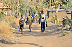 People walking in Yei, Southern Sudan.