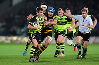 Luke McGrath of Leinster Rugby fends Michael Paterson of Northampton Saints. European Rugby Champions Cup match, between Northampton Saints and Leinster Rugby on December 9, 2016 at Franklin's Gardens in Northampton, England. Photo by: Patrick Khachfe / JMP