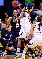 SOUTH BEND, IN - MARCH 04: Kaleena Mosqueda-Lewis #23 of the Connecticut Huskies and Jewell Loyd #32 of the Notre Dame Fighting Irish battle for the ball at Purcel Pavilion on March 4, 2013 in South Bend, Indiana. Notre Dame defeated Connecticut 96-87 in triple overtime to win the Big East regular season title. (Photo by Michael Hickey/Getty Images) *** Local Caption *** Kaleena Mosqueda-Lewis; Jewell Loyd