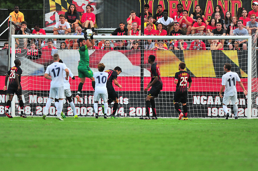 Terrapins keeper Cody Niedermeiert  controls the shot on goal. Maryland defeated Penn State in over time 3-2 during an NCAA D-1 soccer match at Ludwig Field in College Park, MD on Sunday, September 18, 2016.  Alan P. Santos/DC Sports Box