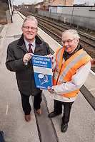 PIctured at Carlton Station for the launch of the new Castle Line Timetable from are Cllr John Clarke, Leader of Gedling Borough Council and Station Adopter Tony Cave who helps keep the station spick and span!