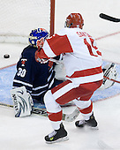 Ryan Santana (BU - 15) puts BU ahead midway through the second period; his goal would stand as the game-winner. - The Boston University Terriers defeated the visiting University of Toronto Varsity Blues 9-3 on Saturday, October 2, 2010, at Agganis Arena in Boston, MA.