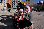 VAN, TURKEY: A mother and child made homeless after the earthquake...On October 23, 2011, a 7.2 magnitude earthquake hit eastern Turkey killing over 250 people and wounding over a thousand...Photo by Ali Arkady/Metrography