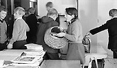 Arriving in the classroom, Whitworth Comprehensive School, Whitworth, Lancashire.  1970.