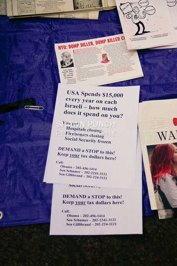 Free literature given at the Occupy Wall Street Protest in New York City October 6, 2011.