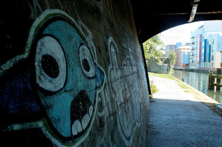 Graffiti under a bridge in Norwich, Norfolk, England