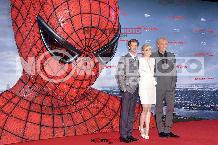 Andrew Garfield, Emma Stone (wearing an Andrew Gn dress, Louboutin shoes) and Rhys Ifans attending the Germany premiere of the movie The Amazing Spider-Man at CineStar Sony Center in Berlin. Berlin, 20.06.2012...Credit: Timm/face to face /MediaPunch Inc. ***Online Only for USA Weekly Print Magazines*** NORTEPOTO.COM<br />