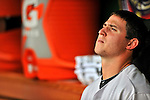19 June 2011: Baltimore Orioles' pitcher Zach Britton sits in the dugout during a game against the Washington Nationals on Father's Day at Nationals Park in Washington, District of Columbia. The Orioles defeated the Nationals 7-4 in inter-league play, ending Washington's 8-game winning streak. Mandatory Credit: Ed Wolfstein Photo