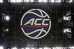 11 March 2016: A view straight up from the center of the court to the ACC logo on the bottom of the scoreboard. The University of North Carolina Tar Heels played the University of Notre Dame Fighting Irish at the Verizon Center in Washington, DC in the Atlantic Coast Conference Men's Basketball Tournament semifinal and a 2015-16 NCAA Division I Men's Basketball game. UNC won the game 78-47.