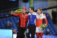 SCHAATSEN: HEERENVEEN: 13-12-2014, IJsstadion Thialf, ISU World Cup Speedskating, Podium Men 5000m Division B, Håvard Bøkko (NOR), Nils van der Poel (SWE), Ted-Jan Bloemen (CAN), ©foto Martin de Jong