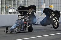 Nov 12, 2016; Pomona, CA, USA; NHRA top alcohol dragster driver Joey Severance during qualifying for the Auto Club Finals at Auto Club Raceway at Pomona. Mandatory Credit: Mark J. Rebilas-USA TODAY Sports