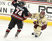 Vinny Saponari (NU - 74), Steven Whitney (BC - 21) - The Boston College Eagles defeated the visiting Northeastern University Huskies 3-0 after a banner-raising ceremony for BC's 2012 national championship on Saturday, October 20, 2012, at Kelley Rink in Conte Forum in Chestnut Hill, Massachusetts.