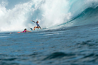 Namotu Island, Fiji (Tuesday, June 2, 2015) Tyler Wright (AUS) and Nikki Van Dijk (AUS).- Action continued today at the fifth stop on the 2015 WSL Championship Tour (CT), the Fiji Women&rsquo;s Pro, with a day of high drama and high scores. The world&rsquo;s best female surfers posted four nine-point rides as competition ran through Rounds 2 and 3 in solid surf at Cloudbreak. <br />  <br /> Rookie Tatiana Weston-Webb (HAW) was the standout of the day, claiming both the highest heat total and single-wave score, while defending event winner Sally Fitzgibbons (AUS) suffered a perforated eardrum in the heavy conditions but still made it through to the Quarterfinals.<br />  <br /> Weston-Webb (HAW) had an impressive run of form, looking confident and at ease on her forehand in the sizable surf. She started with a convincing victory over Sage Erickson (USA) in Round 2, pulling into the wave of the day for a long, deep tube and earning a near-perfect 9.73 (out of a possible 10). The young Hawaiian went on to face Jeep Leaderboard No. 1 and two-time World Champion Carissa Moore (HAW) and Coco Ho (HAW) in Round 3 where another nine-point ride saw her take the top spot and a place in the Quarterfinals, sending her opponents to Round 4.<br /> <br /> The surf was in the 4'-6' range with light winds for most of the morning. A light onshore came up early afternoon and the swell became inconsistent.   Photo: joliphotos.com