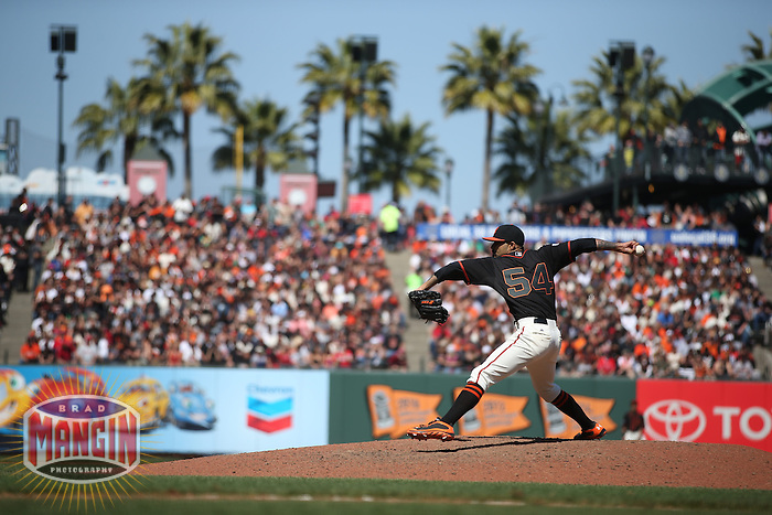 SAN FRANCISCO, CA - MAY 2:  Sergio Romo #54 of the San Francisco Giants pitches against the Los Angeles Angels during the game at AT&T Park on Saturday, May 2, 2015 in San Francisco, California. Photo by Brad Mangin
