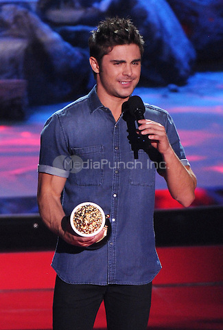 LOS ANGELES, CA - APRIL 13: Zac Efron accepts the award for Best Shirtless onstage at the 2014 MTV Movie Awards at Nokia Theatre L.A. Live on April 13, 2014 in Los Angeles, California. Credit: MPIMIcelotta/MediaPunch