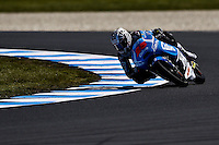 KTM Moto3 rider Maverik Vinales of Spain rides during the first practice session of the Australian Motorcycle GP in Phillip Island, Oct 18, 2013. Photo by Daniel Munoz/VIEWpress IMAGE RESTRICTED TO EDITORIAL USE ONLY- STRICTLY NO COMMERCIAL USE.