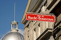 Street sign, Bonsecours Market or Marche Bonsecour in Old Montreal, Quebec, Canada