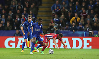 Atletico Madrid's Jorge Resurreccion is tackled by Leicester City's Daniel Amartey<br /> <br /> Photographer Stephen White/CameraSport<br /> <br /> UEFA Champions League Quarter Final Second Leg - Leicester City v Atletico Madrid - Tuesday 18th April 2017 - King Power Stadium - Leicester <br />  <br /> World Copyright &copy; 2017 CameraSport. All rights reserved. 43 Linden Ave. Countesthorpe. Leicester. England. LE8 5PG - Tel: +44 (0) 116 277 4147 - admin@camerasport.com - www.camerasport.com