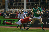 Wales U20's Shane Lewis-Hughes tackles Ireland U20's Calvin Nash into touch<br /> <br /> Photographer Alex Dodd/CameraSport<br /> <br /> RBS Six Nations U20 Championship Round 4 - Wales U20s v Ireland U20s - Saturday 11th March 2017 - Parc Eirias, Colwyn Bay, North Wales<br /> <br /> World Copyright &copy; 2017 CameraSport. All rights reserved. 43 Linden Ave. Countesthorpe. Leicester. England. LE8 5PG - Tel: +44 (0) 116 277 4147 - admin@camerasport.com - www.camerasport.com