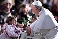 Pope Francis during general audience at the Vatican,March 18, 2015